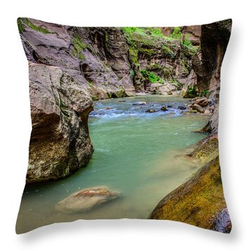 Wall Street Hiking Zion National Park Throw Pillow