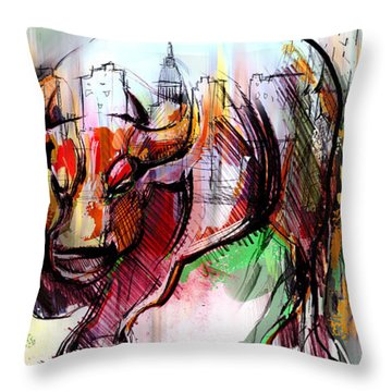 Throw Pillow featuring the painting Wall Street New Money by John Jr Gholson