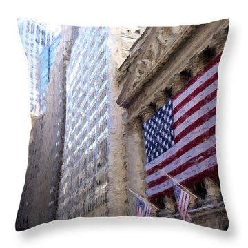 Wall Street, Nyc Throw Pillow by Matthew Ashton