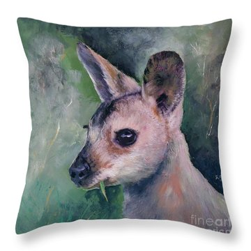 Wallaby Grazing Throw Pillow