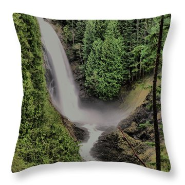 Throw Pillow featuring the photograph Wallace Falls by Jeff Swan