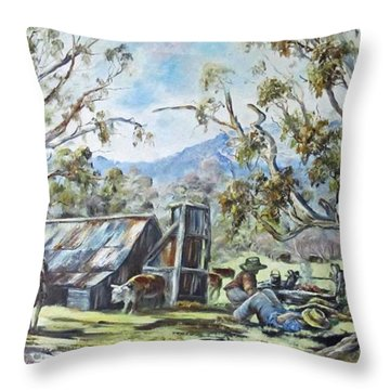 Wallace Hut, Australia's Alpine National Park. Throw Pillow