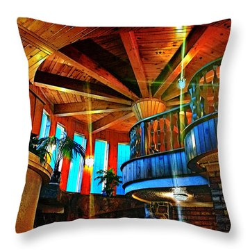 Throw Pillow featuring the photograph Wallaceville House's Rustic Balcony by Kathy Kelly