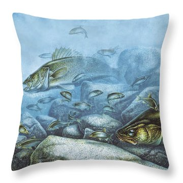 Walleye Reef Throw Pillow by JQ Licensing