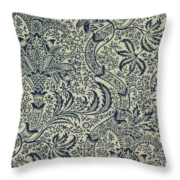 Wallpaper With Navy Blue Seaweed Style Design Throw Pillow