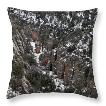 Walnut Canyon In Flagstaff In Winter 4 Throw Pillow