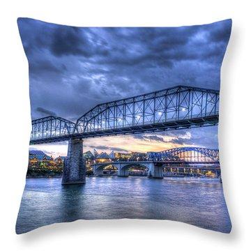 Walnut Street Pedestrian Bridge Chattanooga Tennessee Throw Pillow