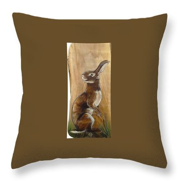 Walnutty Bunny Throw Pillow by Jacque Hudson