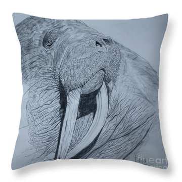 Walrus Throw Pillow by David Joyner