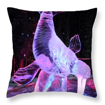 Walrus Ice Art Sculpture - Alaska Throw Pillow by Gary Whitton