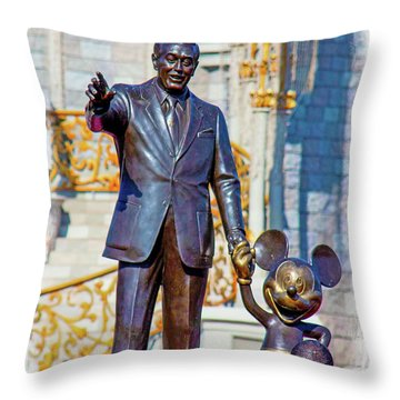 Throw Pillow featuring the photograph Walt And Mickey by Mark Andrew Thomas
