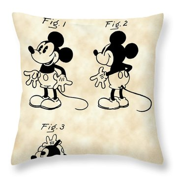 Walt Disney Mickey Mouse Patent 1929 - Vintage Throw Pillow