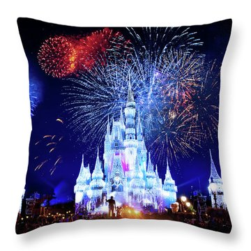 Walt Disney World Fireworks  Throw Pillow by Mark Andrew Thomas