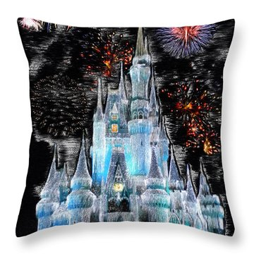 Walt Disney World Frosty Holiday Castle Mp Throw Pillow by Thomas Woolworth