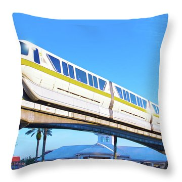Throw Pillow featuring the photograph Walt Disney World Monorail by Mark Andrew Thomas