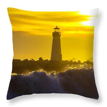 Walton Lighthouse At Sunset Throw Pillow