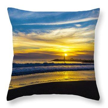 Walton Lighthouse Setting Sun Throw Pillow