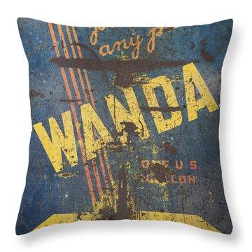 Wanda Motor Oil Vintage Sign Throw Pillow by Christina Lihani
