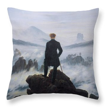Wanderer Above The Sea Of Fog Throw Pillow