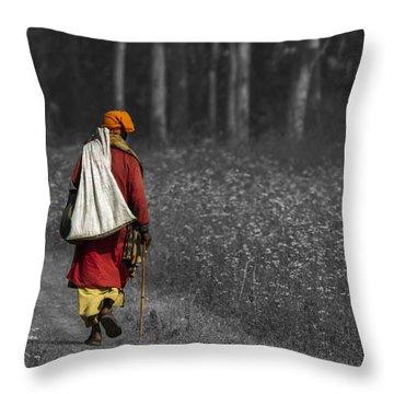 Wandering Holy Man Throw Pillow by Ramabhadran Thirupattur