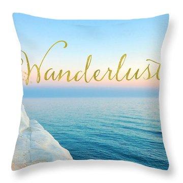 Wanderlust, Santorini Greece Ocean Coastal Sentiment Art Throw Pillow