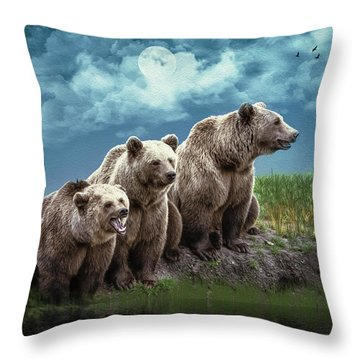 Wanna Go For A Moonlight Swim Throw Pillow by Diane Schuster