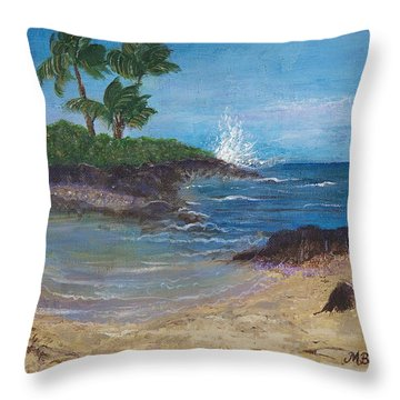 Throw Pillow featuring the painting Wanna Go by Margaret Bobb