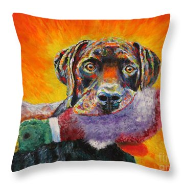 Wannabe Retriever Great Dane Throw Pillow