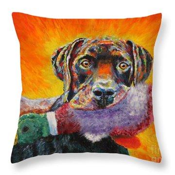 Wannabe Retriever Great Dane Throw Pillow