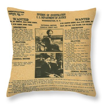 Wanted Poster - Bonnie And Clyde 1934 Throw Pillow by F B I
