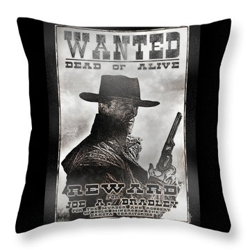 Wanted Poster Notorious Outlaw Throw Pillow