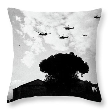 War Helicopters Over The Imperial Fora Throw Pillow