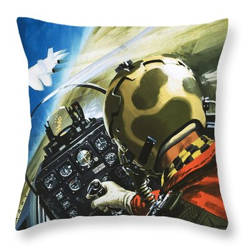 War In The Air Throw Pillow by Wilf Hardy