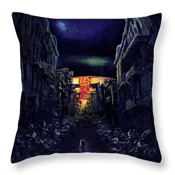 Throw Pillow featuring the drawing War by Julia Art