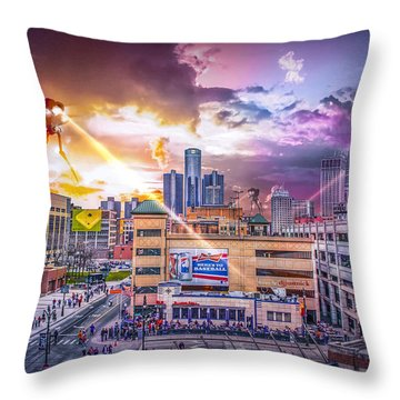 Throw Pillow featuring the photograph War Of The Worlds Detroit By Nicholas Grunas by Nicholas  Grunas