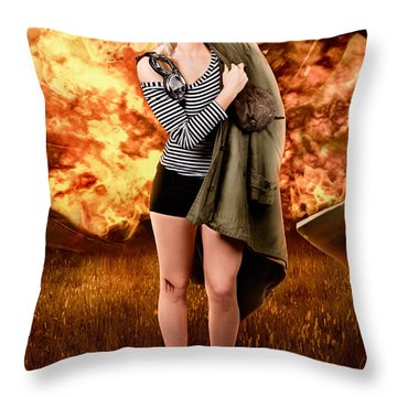 War Pilot Pin-up Woman Walking From Plane Crash Throw Pillow