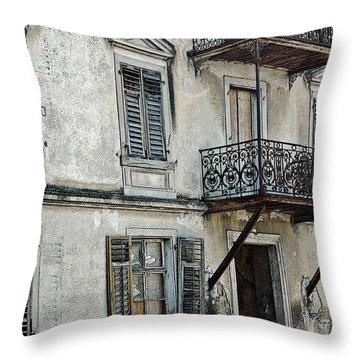 Abandoned War Torn Building In Bregenz Austria Throw Pillow