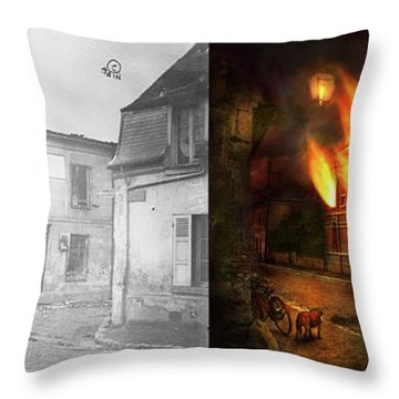 Throw Pillow featuring the photograph War - Wwi -  Not Fit For Man Or Beast 1910 - Side By Side by Mike Savad