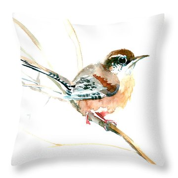 Warbler Songbird Art  Throw Pillow
