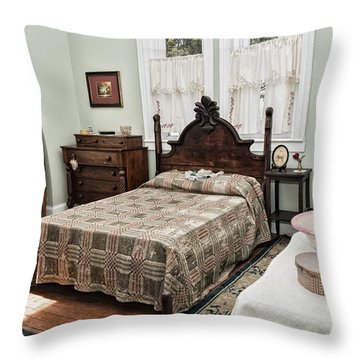 Throw Pillow featuring the photograph Wardens Bedroom by Linda Constant