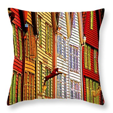 Warehouse Facades Throw Pillow by Dennis Cox WorldViews