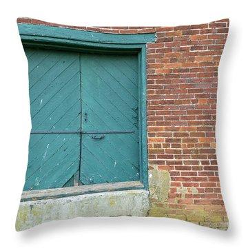 Warehouse Loading Door And Brick Wall Throw Pillow