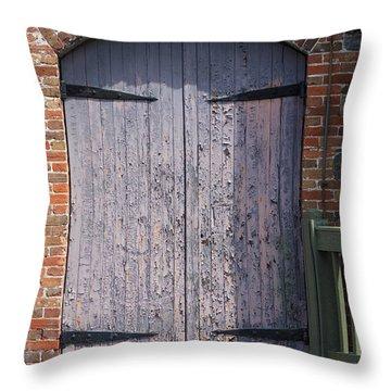 Warehouse Wooden Door Throw Pillow