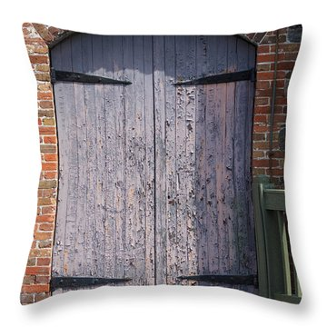 Warehouse Wooden Door Throw Pillow