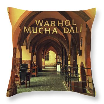 Throw Pillow featuring the photograph Warhol Mucha Dali. Series Golden Prague by Jenny Rainbow