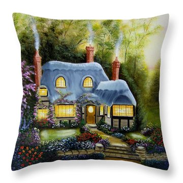 Warm And Cozy Cottage Throw Pillow