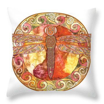 Throw Pillow featuring the mixed media Warm Celtic Dragonfly by Kristen Fox