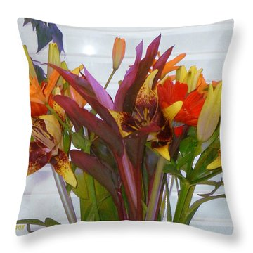 Warm Colored Flowers Throw Pillow