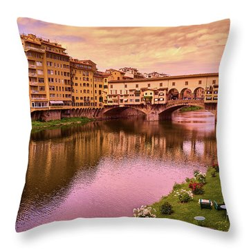 Sunset At Ponte Vecchio In Florence, Italy Throw Pillow