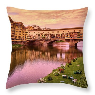 Warm Colors Surround Ponte Vecchio Throw Pillow